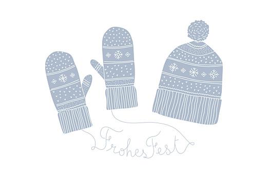 Weihnachtskarten geschäftlich Winter im warmen (klappkarte) blau