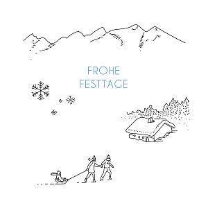 Weihnachtskarten geschäftlich winterruhe weiß
