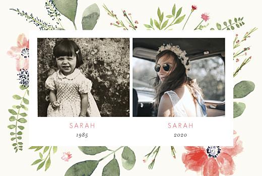 Geburtstagseinladungen Blumen aquarell 2 fotos beige