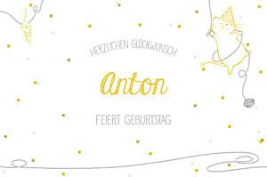 Geburtstagskarten kinder katzenspiel gelb