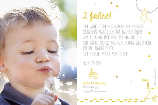 Geburtstagskarten Kinder Katzenspiel gelb - Seite 2