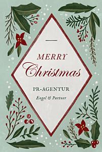 Weihnachtskarten geschäftlich ohne foto holly green