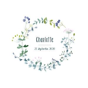 Geburtskarten blau wildblumen violett