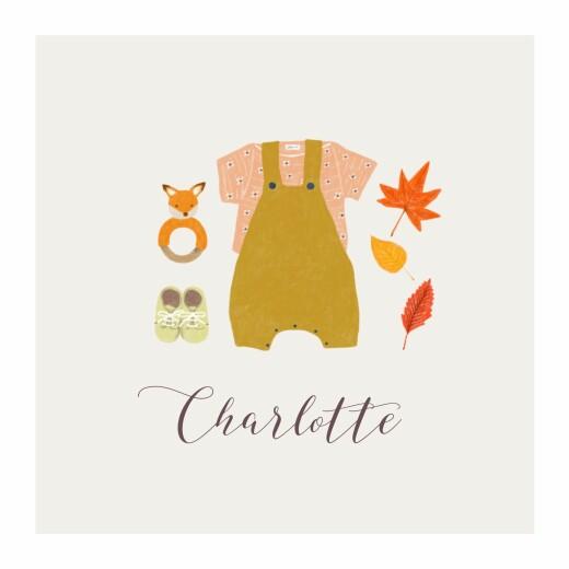 Geburtskarten Herbstoutfit klappkarte gelb