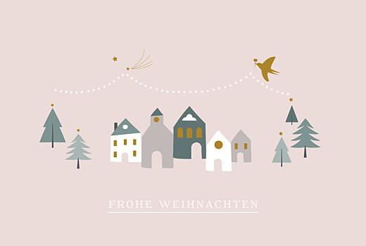Weihnachtskarten Weihnachtsmarkt rosa