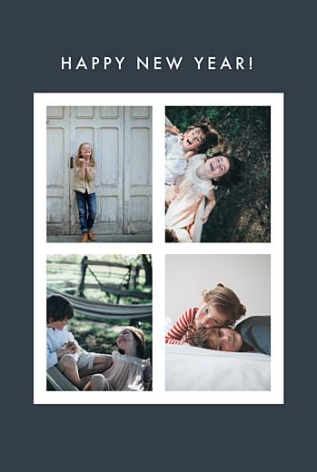 Weihnachtskarten Fotoecken 4 fotos (gold) blau