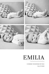 Geburtskarten zwillinge stilvoll modern 4 fotos weiß