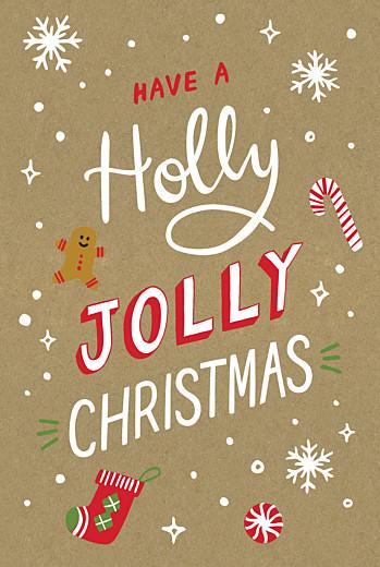 Weihnachtskarten Holly jolly klappkarte kraft