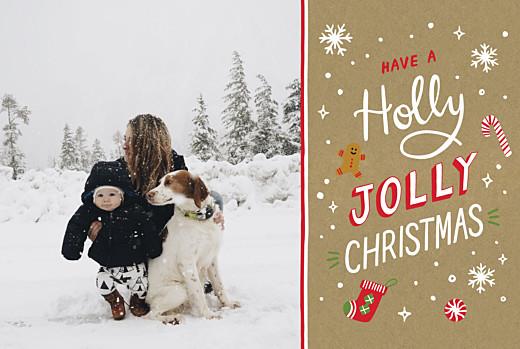 Weihnachtskarten Holly jolly kraft