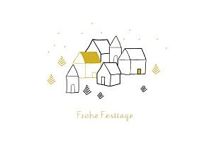 Weihnachtskarten originell weihnachtsdorf (klappkarte) gelb