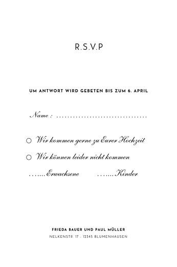 Antwortkarte Hochzeit Naturgemälde hoch weiß - Seite 2