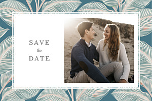 Save-the-date karten mit foto calathea blau