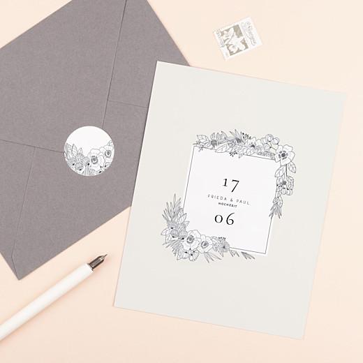 Aufkleber Hochzeit Naturgemälde weiß - Gamme