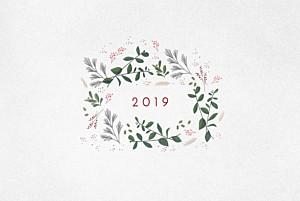 Weihnachtskarten geschäftlich wintergrün (klappkarte) weiß