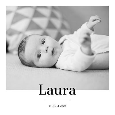 Geburtskarten Stilvoll modern weiß finition
