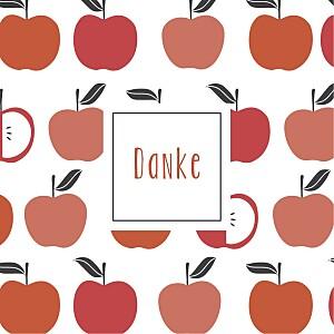 Mini dankeskarten kleine früchte apfel