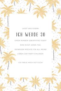 Geburtstagseinladungen ohne foto palmen gelb