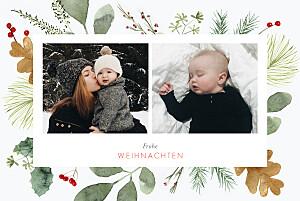 Weihnachtskarten muster blumen aquarell winter weiß