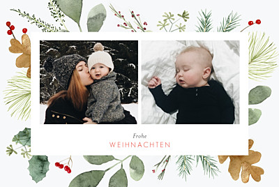 Weihnachtskarten Blumen aquarell winter weiß finition