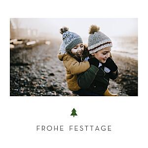 Weihnachtskarten klassisch elegant tannenbaum weiß