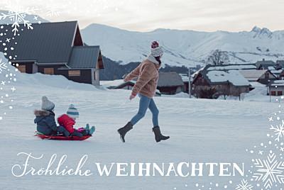 Weihnachtskarten Schneeflocke beige finition