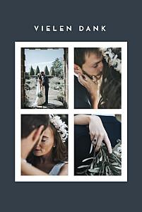 Dankeskarten hochzeit gold fotoecken 4 fotos (gold) blau