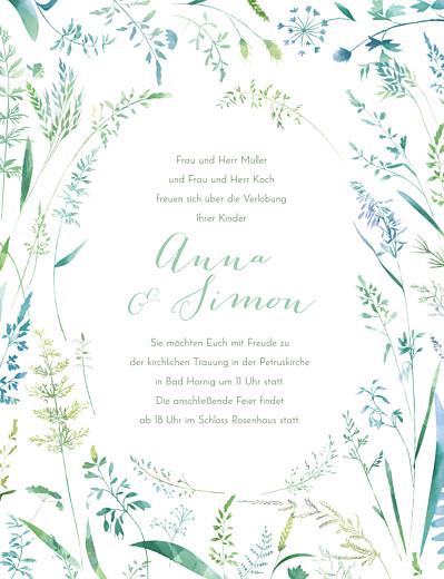 Hochzeitseinladungen Sommerwiese hoch grün