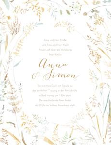 Hochzeitseinladungen grün sommerwiese hoch sand