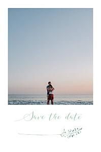 Save-the-date karten mit foto sommerwiese grün