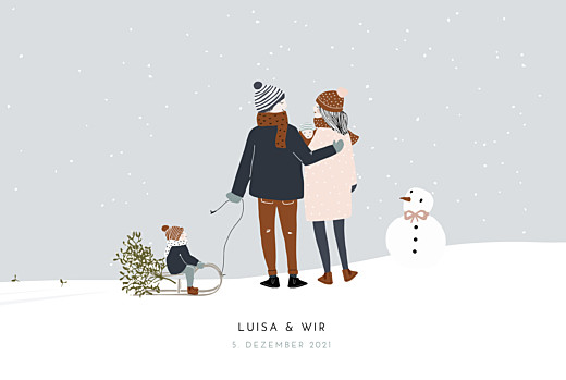 Geburtskarten Winter family (2 kinder) 1