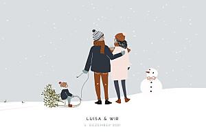 Geburtskarten grau winter family (2 kinder) 2