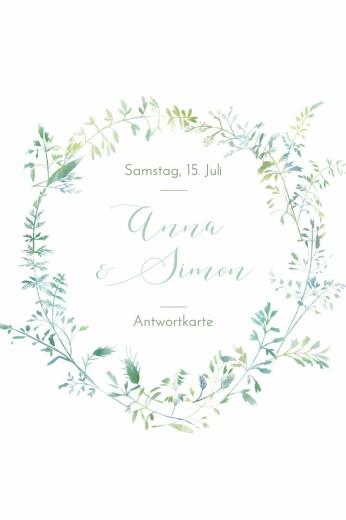 Antwortkarte Hochzeit Sommerwiese hoch grün