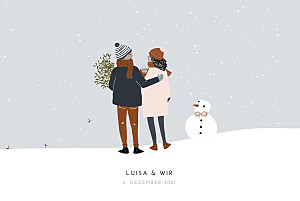 Geburtskarten grau winter family (1 kind) 2