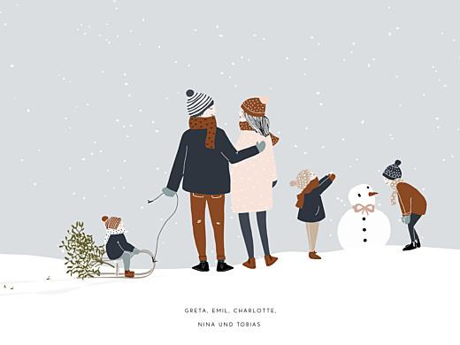 Poster klein Winter family 3 kinder 1 - Seite 1