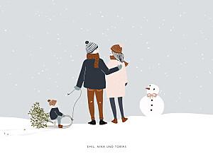 Poster klein ohne foto winter family (1 kind) 1