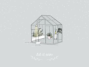 Poster klein ohne foto wintergarten grau