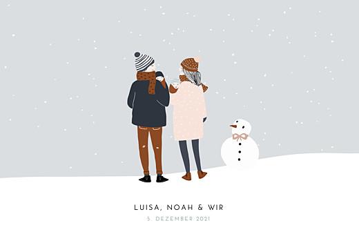 Geburtskarten Winter family (zwillinge) 1