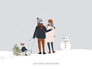 Poster klein ohne foto winter family 2 kinder baby 1