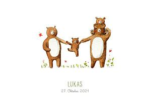 Geburtskarten braun 4 bären weiß