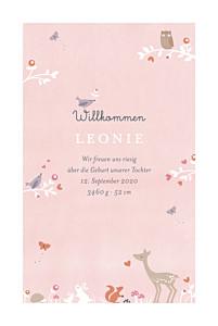 Geburtskarten zwillinge märchenwald rosa