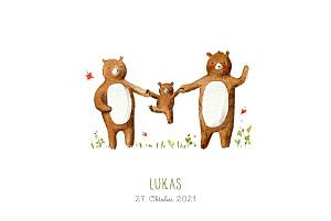 Geburtskarten braun 3 bären weiß