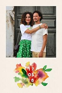 Hochzeitseinladungen mit foto bloom foto beige
