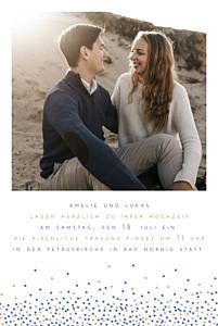 Hochzeitseinladungen mit 2 fotos und mehr confetti foto blau & weiß