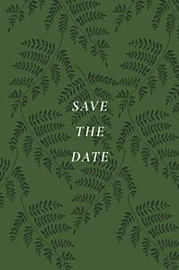 Save-the-date karten ohne foto blättertanz grün