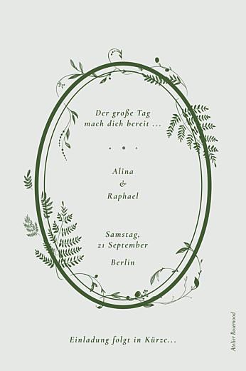 Save-the-Date Karten Blättertanz grün - Seite 2