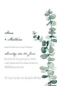 Hochzeitseinladungen floral eucalyptus weiss