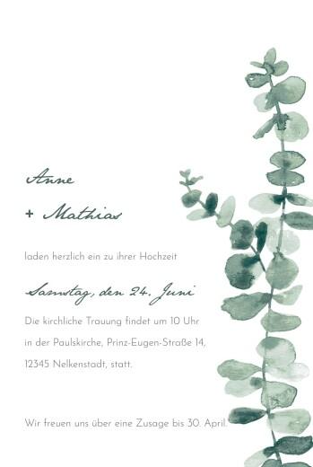 Hochzeitseinladungen Eucalyptus weiss