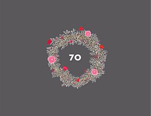 Geburtstagseinladungen ohne foto blumenkrone (4-seitig) grau & rosa