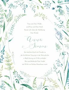 Hochzeitseinladungen floral sommerwiese hoch grün