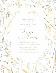 Hochzeitseinladungen grau sommerwiese hoch sand